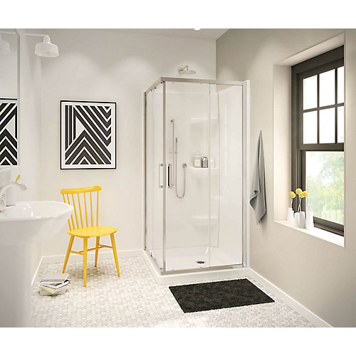 Radia 32-inch x 32-inch x 72-inch Framed Square Sliding Shower Door in Brushed Nickel Clear