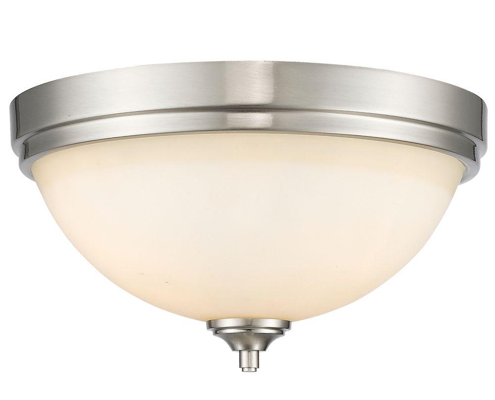 3-Light Brushed Nickel Flush Mount with Matte Opal Glass