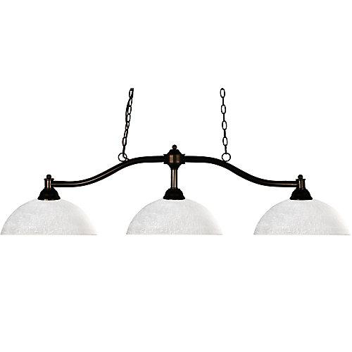Lustre à trois ampoules dimmable avec abat-jour blanc, Fini bronze - 13.5 inch