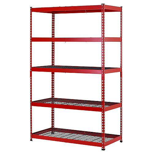 Husky 48-inch W x 78-inch H x 24-inch D 5-Shelf Steel Garage Shelving Unit in Red/Black