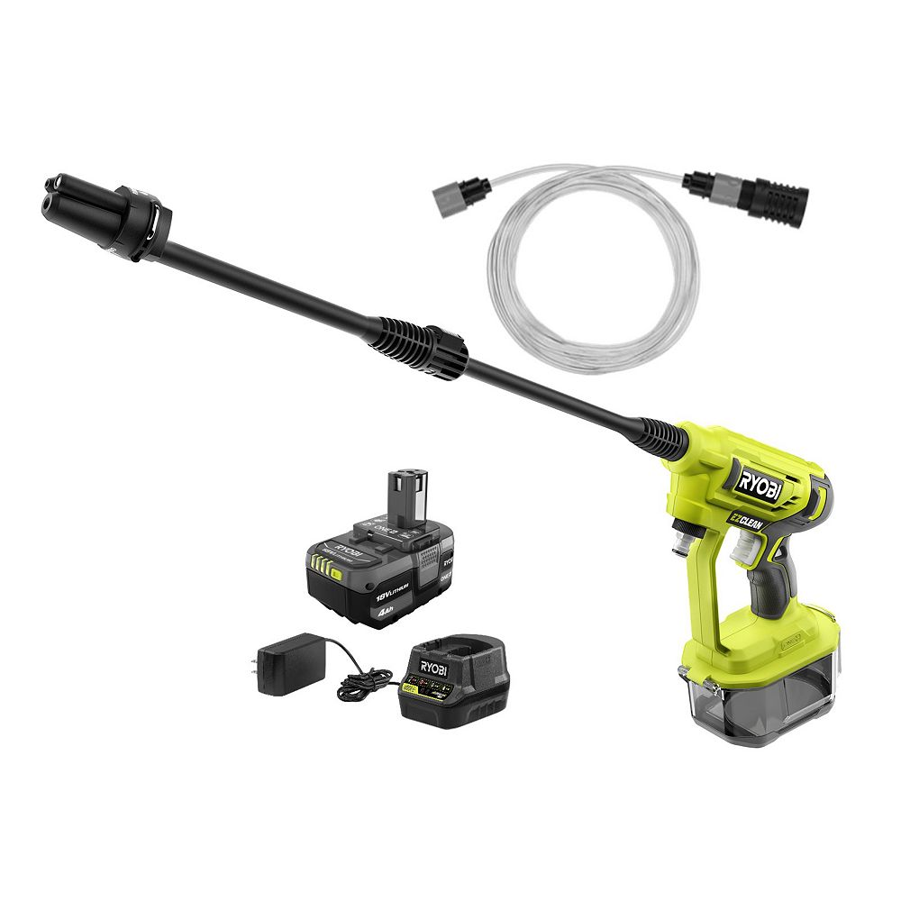 Ryobi RY120352K 18V ONE+ 320 PSI 0.8 GPM Cold Water Cordless Power Cleaner with 4.0 Ah Battery