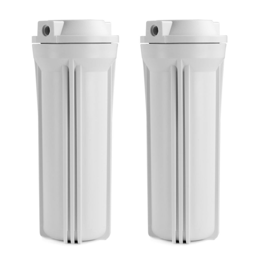 HW12 1/4 inch Inch Slimline Water Filter Housing White 10 inches, 2-Pack