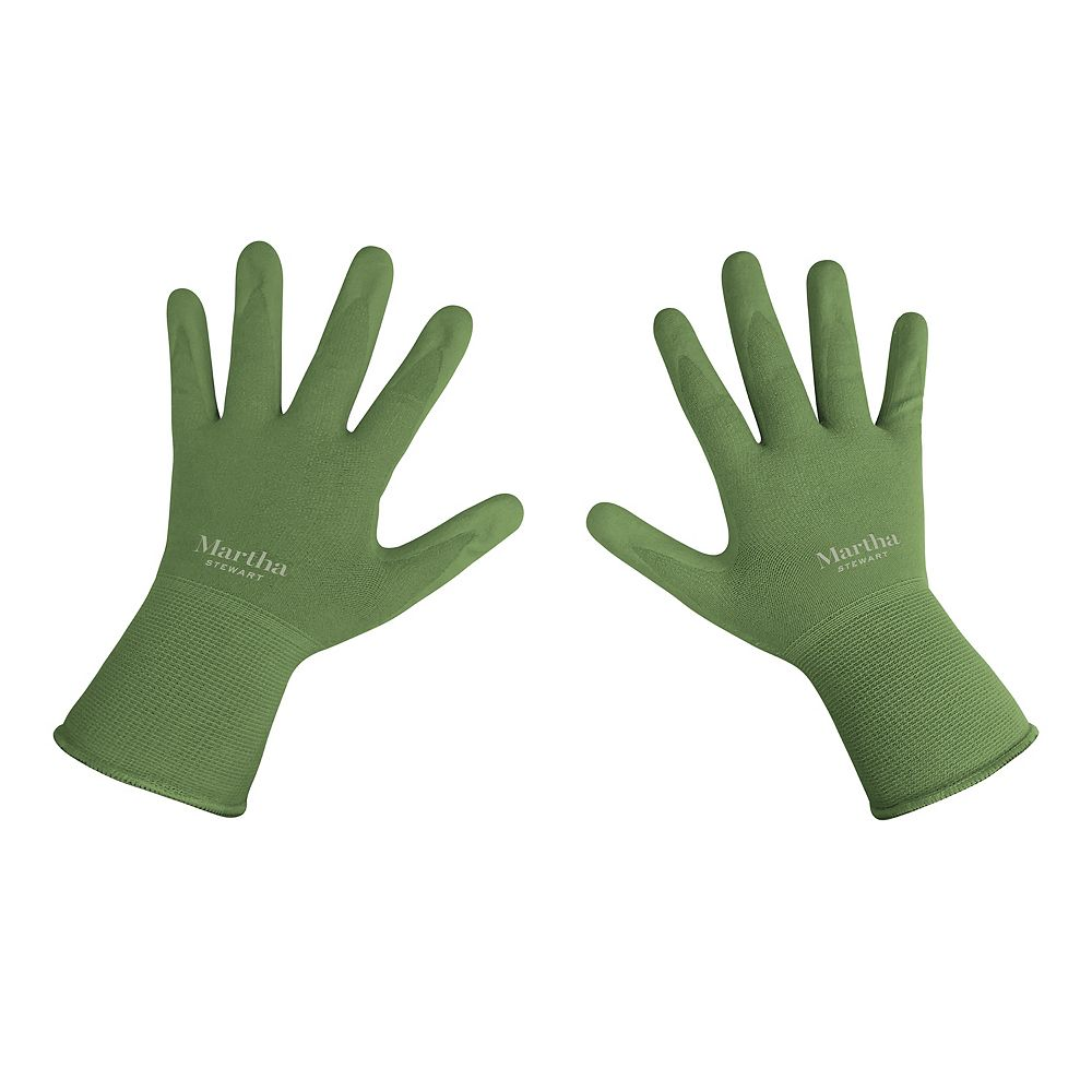 Martha Stewart Living Nitrile Coated Palm Breathable All-Purpose Non-Slip Grip Garden Gloves (Large)