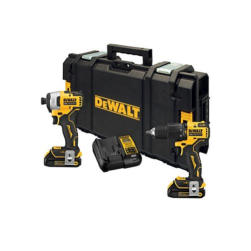 DEWALT ATOMIC 20V MAX Brushless  Hammerdrill/Impact Driver Combo Kit w/ 2 Batteries & ToughSystem Tool Box