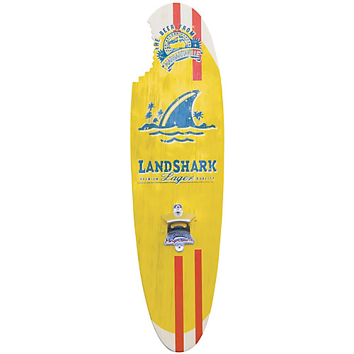 Landshark Bottle Opener Sign with Magnetic Cap Catcher