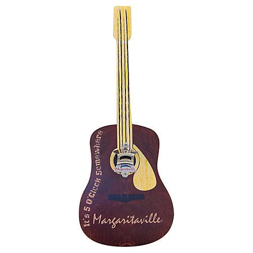 Bottle Opener Sign with Magnetic Cap Catcher - Guitar