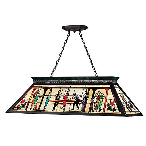 Billard Lumière à quatre ampoules dimmable avec abat-jour en verre tiffany, fini noir mat - 13 inch