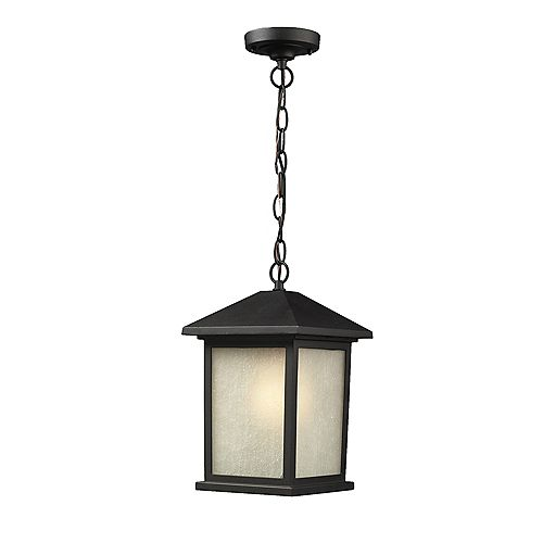 Filament Design 1-Light Black Outdoor Pendant with White Seedy Glass