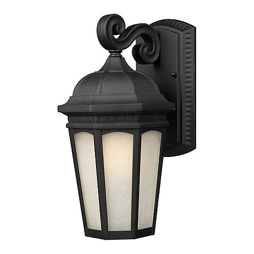 Filament Design 1-Light Black Outdoor Sconce with White Seedy Glass