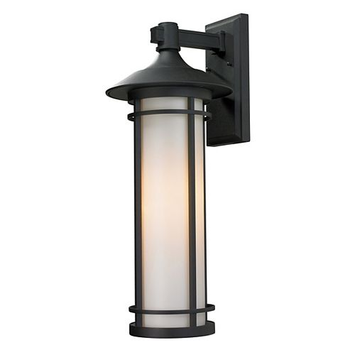 Filament Design 1-Light Black Outdoor Wall Sconce with Matte Opal Glass - 11.25 inch