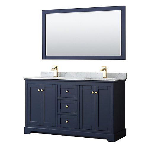 Avery 60 Inch Double Vanity in Dark Blue, White Carrara Marble Top, Square Sinks, 58 Inch Mirror