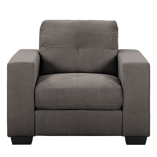 Corliving Tufted Seat and Backrest Grey Chenille Fabric Chair
