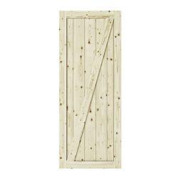 Colonial Elegance 42 inch X 84 inch Chalet Z Brace Unfinished Knotty Pine Interior Barn Door Slab