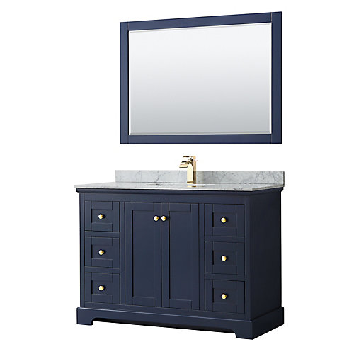 Avery 48 Inch Single Vanity in Dark Blue, White Carrara Marble Top, Square Sink, 46 Inch Mirror