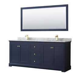 Wyndham Collection Avery 80 Inch Double Vanity in Dark Blue, White Carrara Marble Top, Square Sinks, 70 Inch Mirror