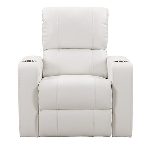 Home Theater Single Power Recliner with Stainless Steel Cup Holders, White Leather Gel