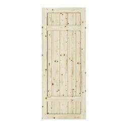 Colonial Elegance 42 inch x 84 inch x1 3/8 inchBarrel 3 Panel Unfinished Knotty Pine Interior Barn Door Slab