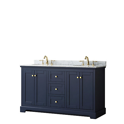 Avery 60 Inch Double Vanity in Dark Blue, White Carrara Marble Top, Oval Sinks, No Mirror