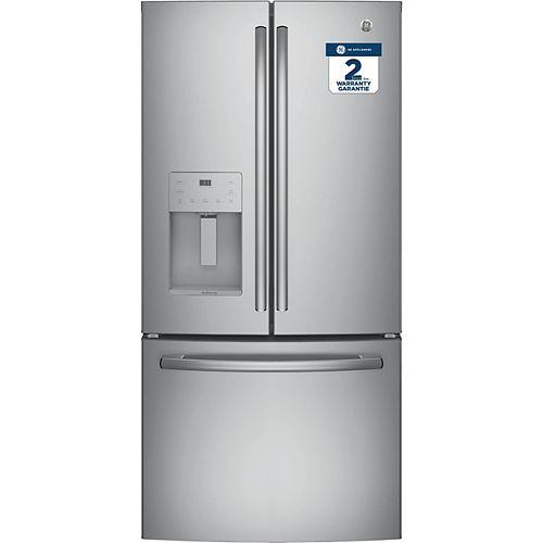 GE Adora Réfrigérateur à porte française de 33 pouces en acier inoxydable