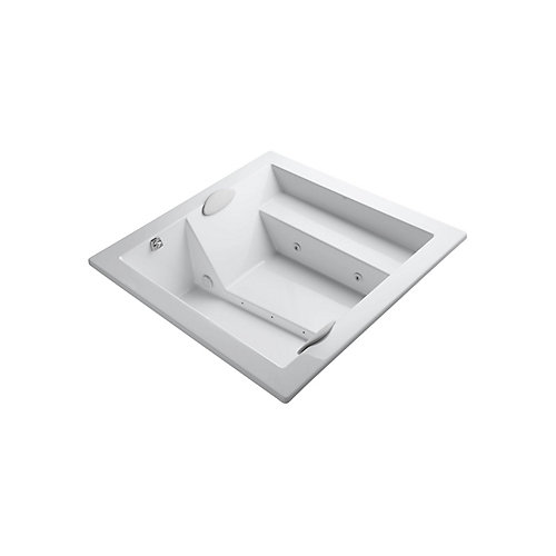 69 inch x 69 inch drop-in whirlpool without jet trim in White