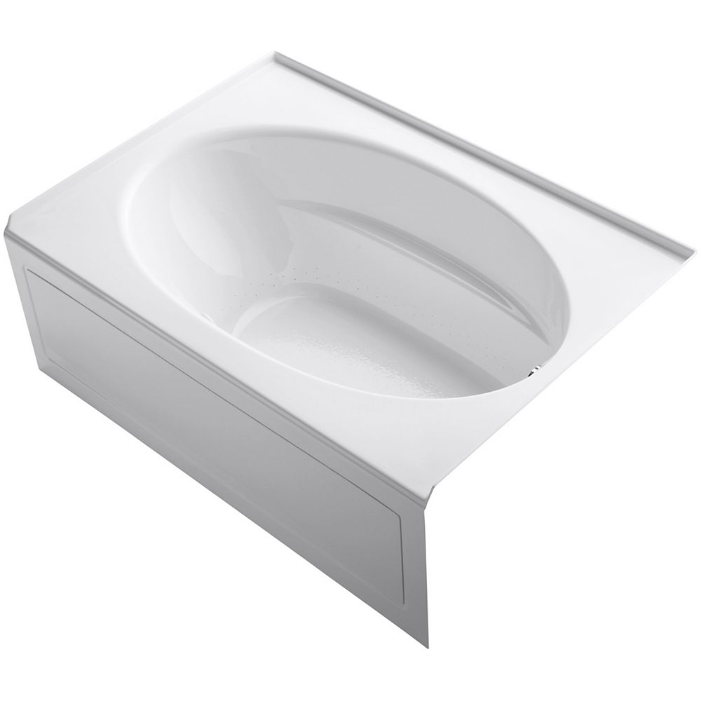 KOHLER 60 inch x 42 inch alcove Bubblemassage Air Bath with integral apron and right-hand drain