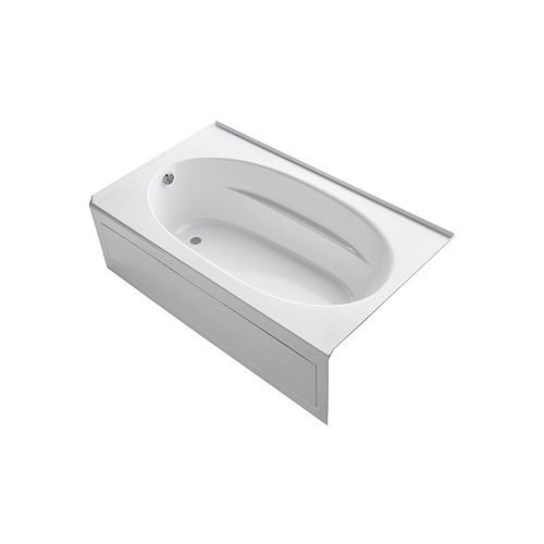 KOHLER 72 inch x 42 inch alcove BubbleMassage Air Bath with integral apron and left-hand drain