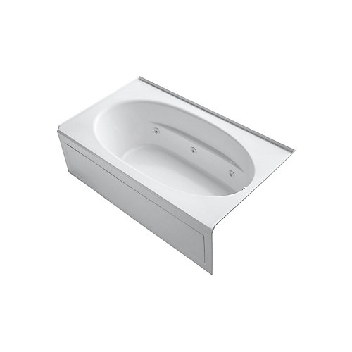 72 inch x 42 inch alcove whirlpool with integral apron and right-hand drain