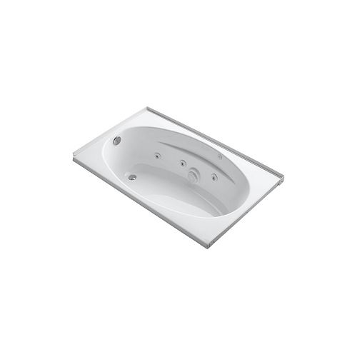 KOHLER 60 inch x 36 inch alcove whirlpool with integral flange, left-hand drain and heater in White