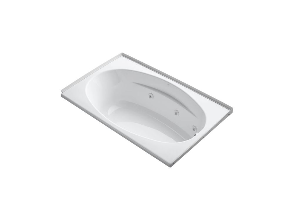 60 inch x 36 inch alcove whirlpool with integral flange, right-hand drain and heater in White
