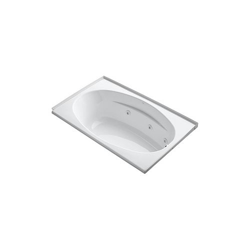 KOHLER 60 inch x 36 inch alcove whirlpool with integral flange, right-hand drain and heater in White