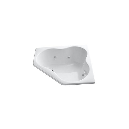 54 inch x 54 inch drop-in corner whirlpool with heater in White