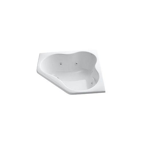 KOHLER 54 inch x 54 inch drop-in corner whirlpool with heater in White