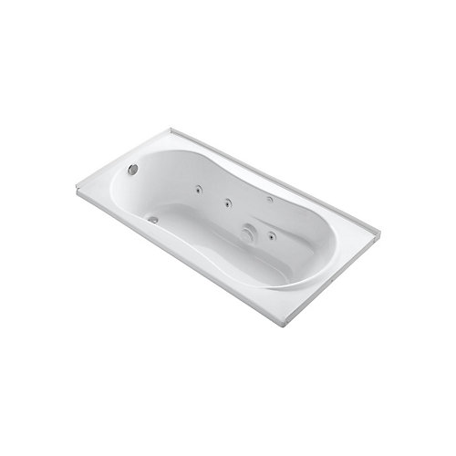 72 inch x 36 inch alcove whirlpool with integral flange, left-hand drain and heater in White