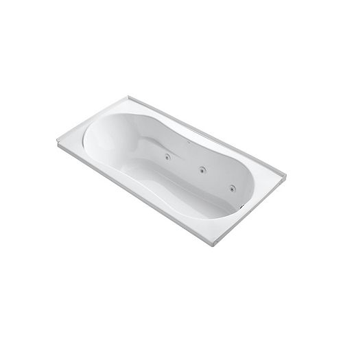 KOHLER 72 inch x 36 inch alcove whirlpool with integral flange and right-hand drain in White