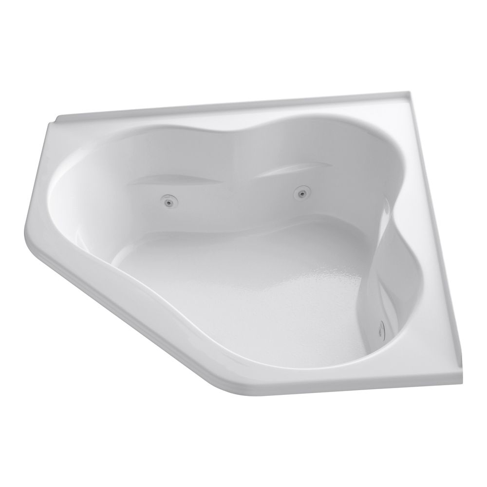 60 inch x 60 inch whirlpool with integral flange, center drain and heater in White
