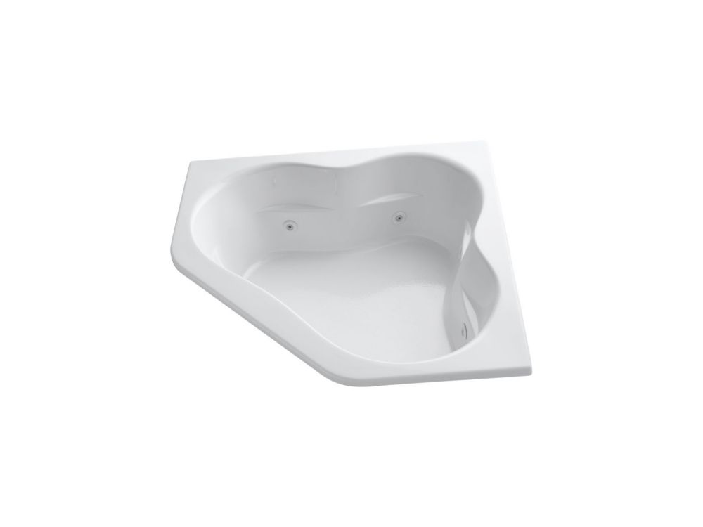 60 inch x 60 inch drop-in whirlpool with center drain and heater in White