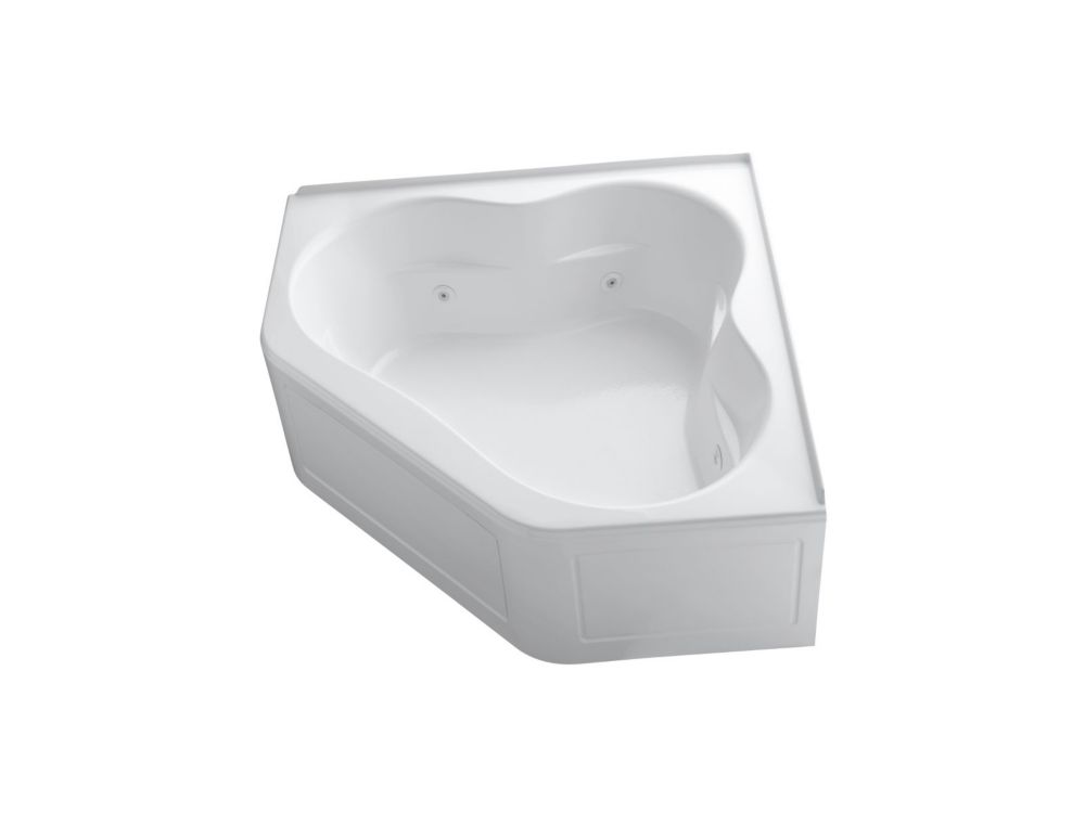 60 inch x 60 inch whirlpool with integral flange, heater and center drain in White