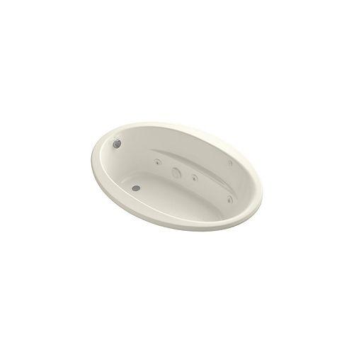 KOHLER drop-in whirlpool with reversible drain in Biscuit