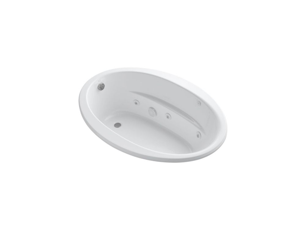 60 inch x 42 inch drop-in whirlpool with reversible drain and heater in White