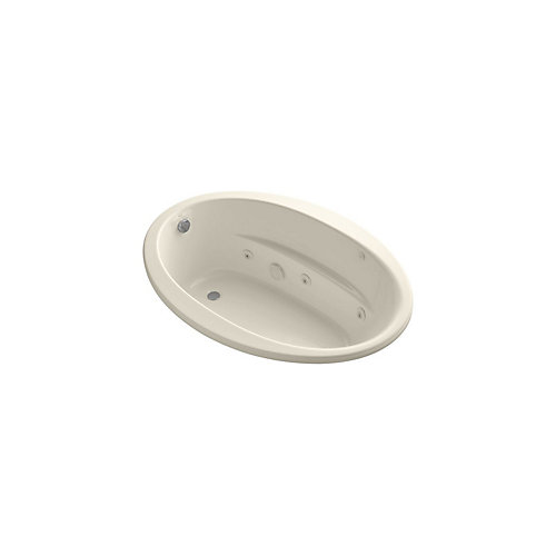60 inch x 42 inch oval drop-in whirlpool with heater in Almond