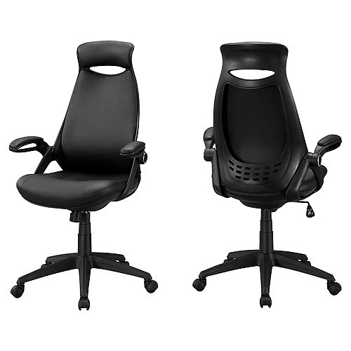 Monarch Specialties Office Chair - Black Leather-Look / Multi Position
