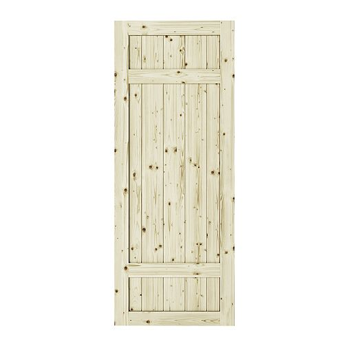Colonial Elegance 37 inch x 84 inch x1 3/8 inchBarrel 3 Panel Unfinished Knotty Pine Interior Barn Door Slab