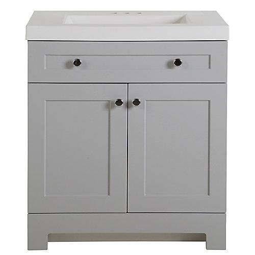 Meuble-lavabo Everdean, 77,47cm l, gris perle avec revêtement de comptoir de meuble-lavabo en blanc