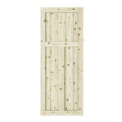 Colonial Elegance 42 inch x 84 inch x1 3/8 inchCraftman 3 Panel Unfinished Knotty Pine Interior Barn Door Slab