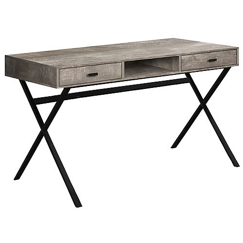 Monarch Specialties Computer Desk - 48 Inch L / Taupe Reclaimed Wood / Black Metal