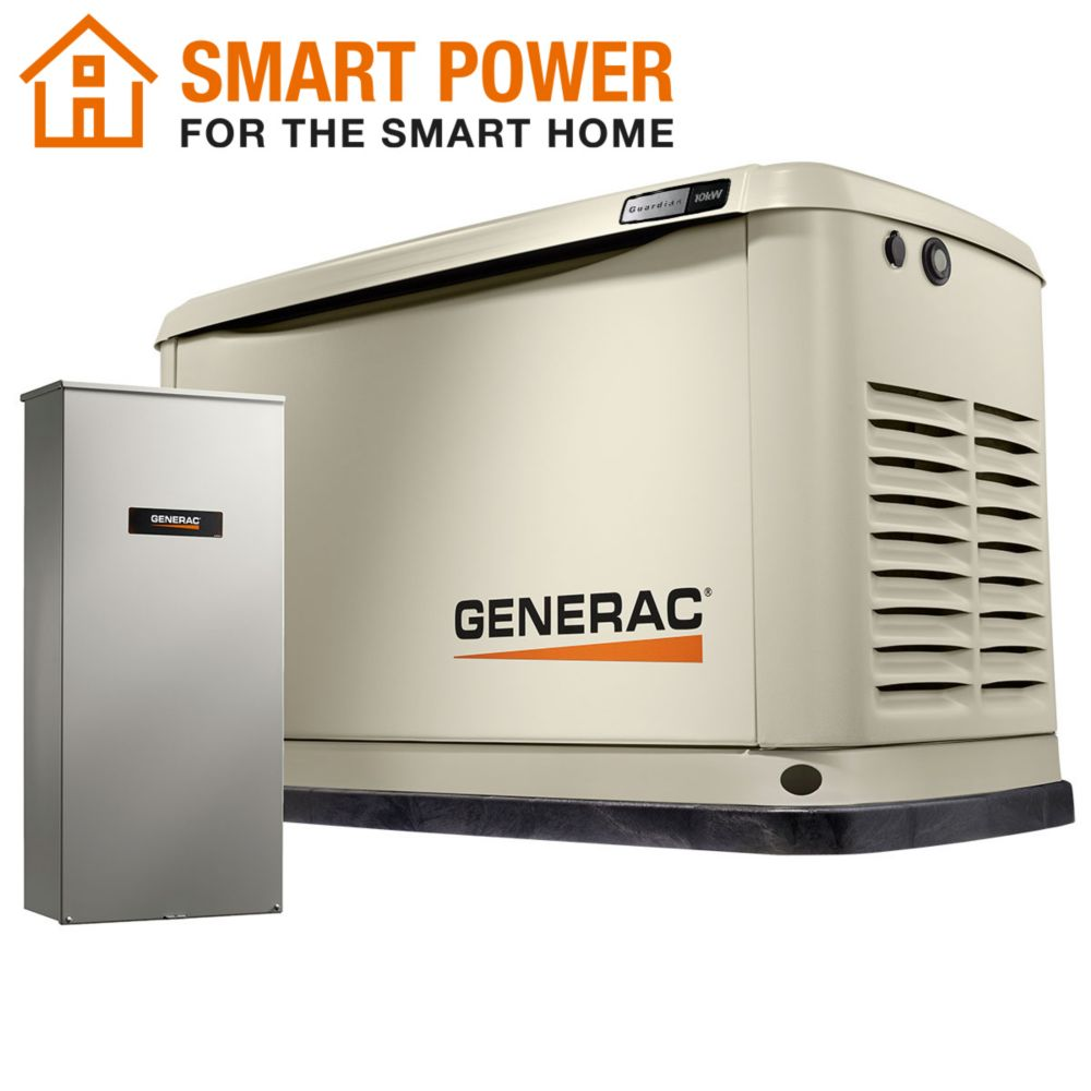 Generac Guardian 10kW WiFi-Enabled Home Backup Generator with 16-Circuit Transfer Switch 7172