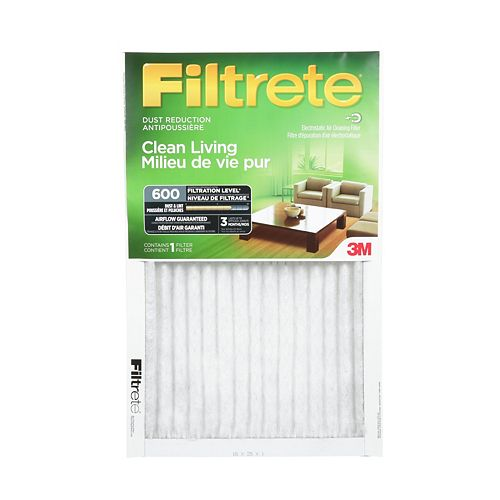 Filtrete Filters Clean Living 16-inch x 25-inch x 1-inch Dust Reduction MPR 600 Furnace Filter