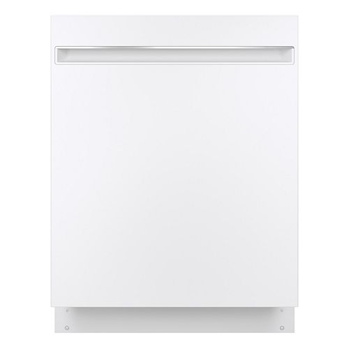GE 24-inch Top Control Built-in Dishwasher with Stainless Steel Interior in White