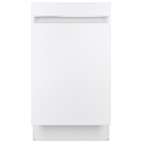 GE Profile 18-inch Top Control Built-in Dishwasher with Stainless Steel Interior in White