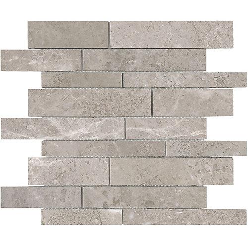Carreaux de mosaïque Salo, 12 po x 12 po, mélange aléatoire de bandes en marbre adouci (10 pi2/boîte)